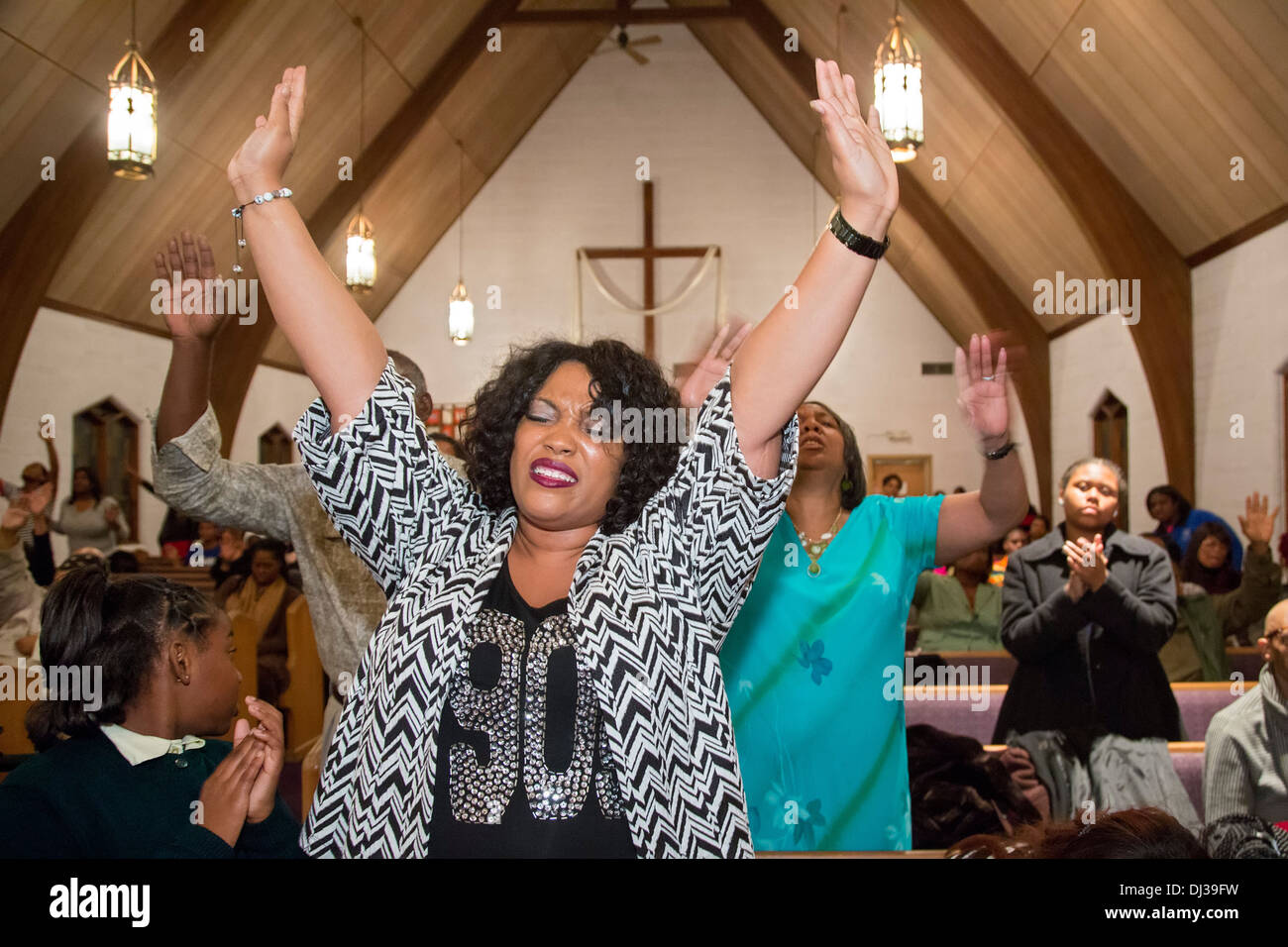 Detroit, Michigan - Gospel concert at Peace and Goodwill Baptist Church. - Stock Image