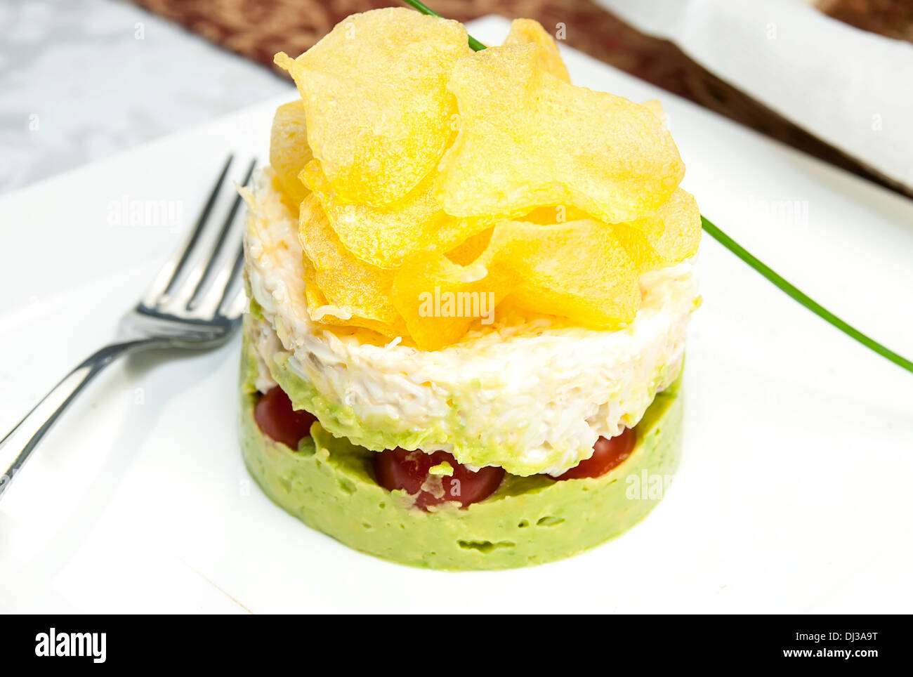 salad with vegetables and mashed potatoes with cheese - Stock Image