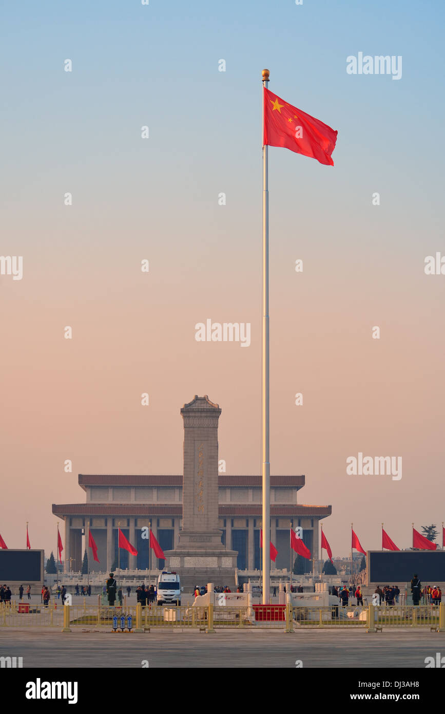 Monument to the People's Heroes in Tiananmen Square - Stock Image