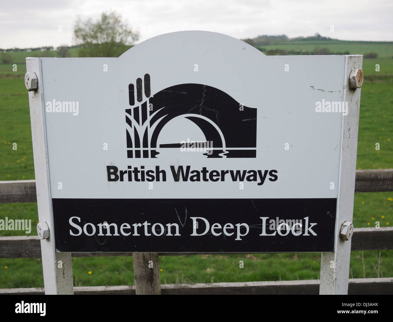 British Waterways sign next to 'Somerton Deep Lock' Oxfordshire, UK - Stock Image