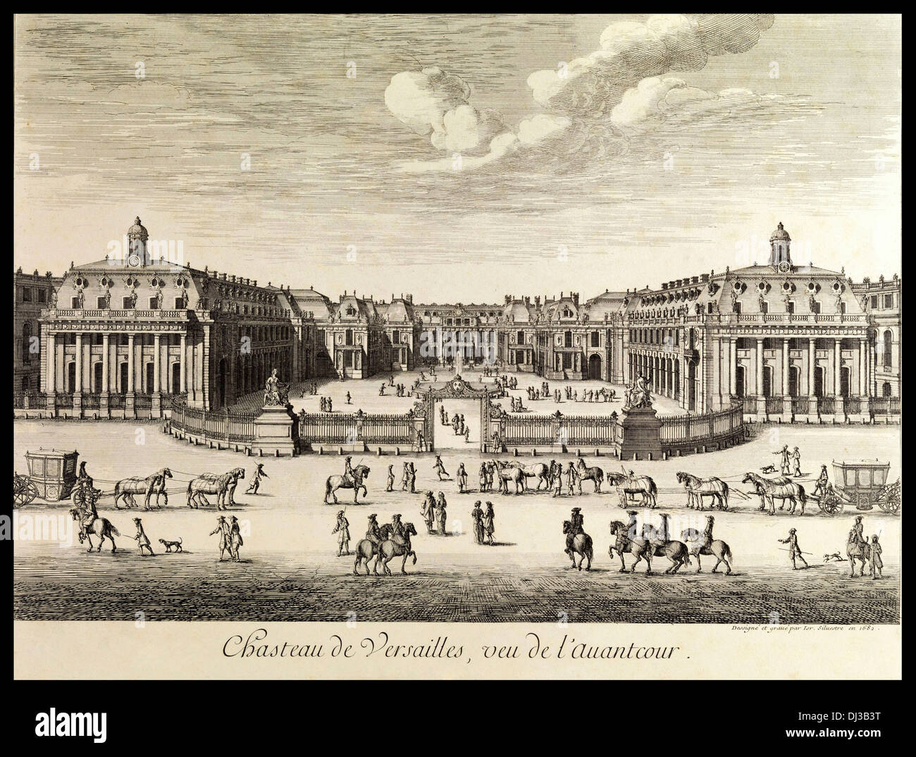 Chateau de Versailles 1682 by Israel Silvestre a prolific French etcher and print dealer - Stock Image