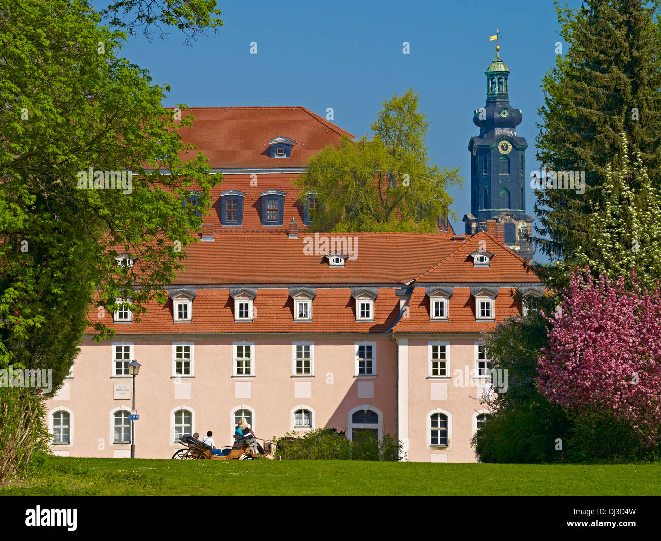 House of Frau von Stein with a castle tower, Weimar, Thuringia - Stock Image
