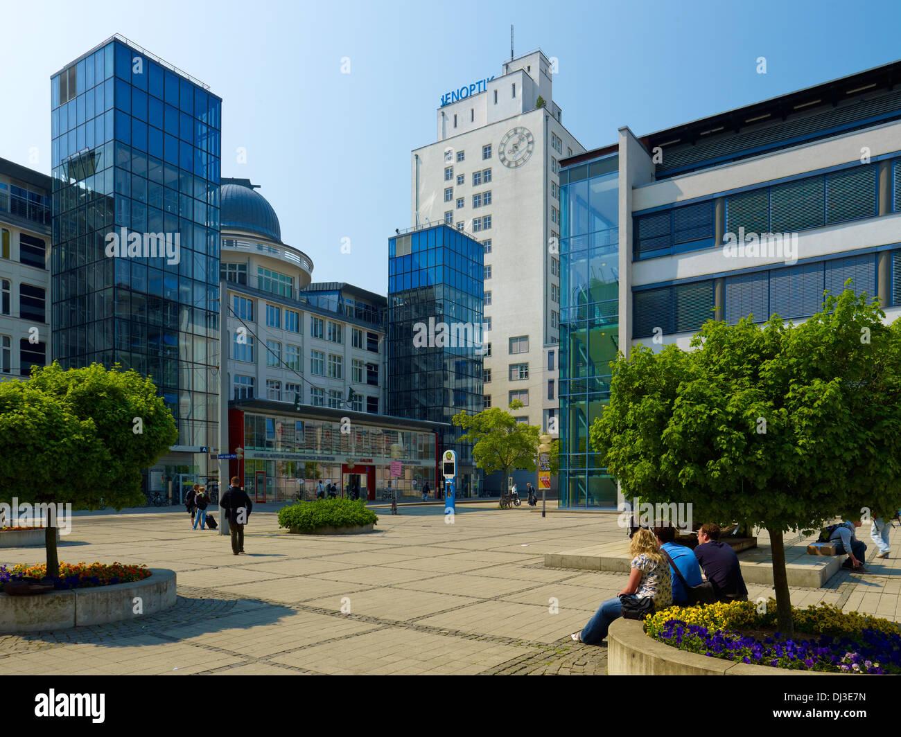 Ernst-Abbe-Platz with the University and Jenoptik building, Jena, Thuringia - Stock Image