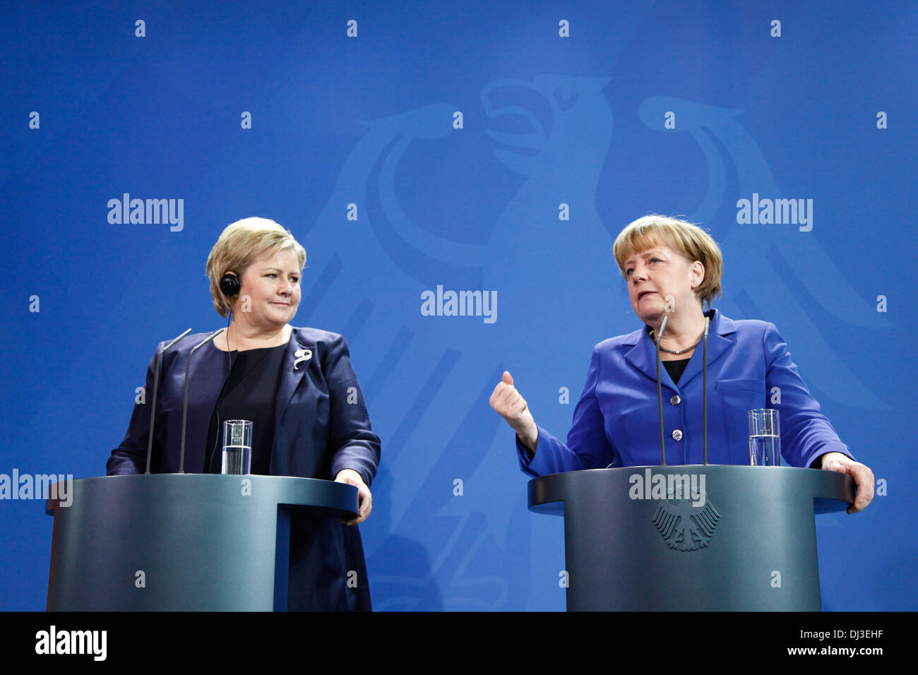 Berlin, Germany. 20th Nov, 2013. Angela Merkel, German Chancellor, receives Norwegian prime minister Erna Solberg (Conservative Party), at the Chancellery in Berlin. / Picture: Angela Merkel, German Chancellor, and Norwegian prime minister Erna Solberg (Conservative Party), during joint press conference at the Chancellery in Berlin, on November 20, 2013.Photo: Reynaldo Paganelli/NurPhoto Credit:  Reynaldo Paganelli/NurPhoto/ZUMAPRESS.com/Alamy Live News - Stock Image