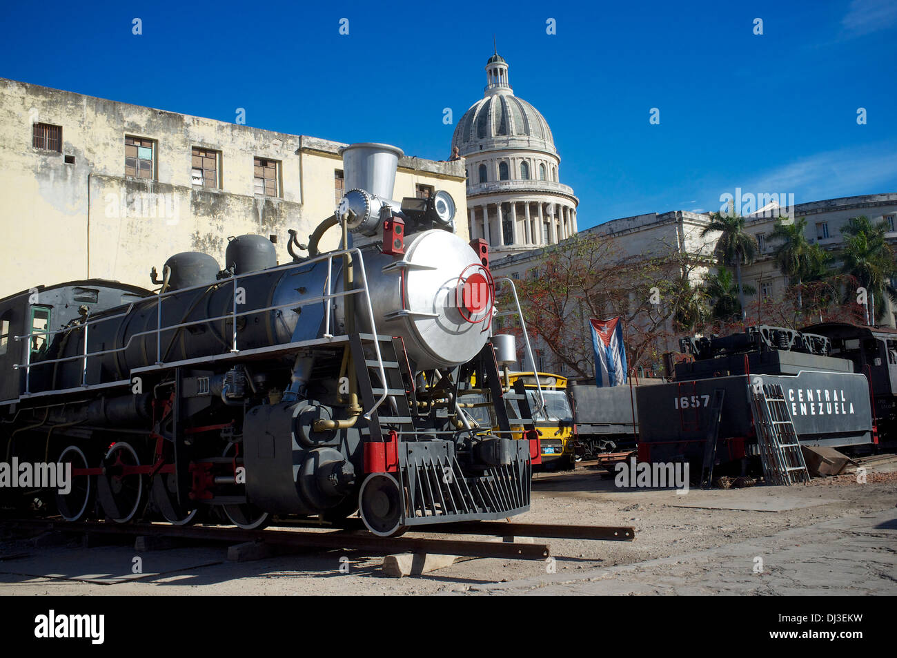 Restored steam engines, Havana, Cuba - Stock Image