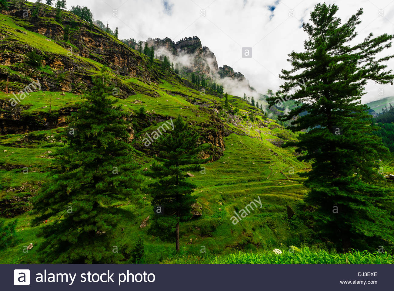 Rohtang Pass in Himachal Pradesh, India. The 13,000 foot pass, near Manali, in the Pir Panjal Range of the Himalayas connects the Kullu Valley with the Lahaul and Spiti Valleys. - Stock Image