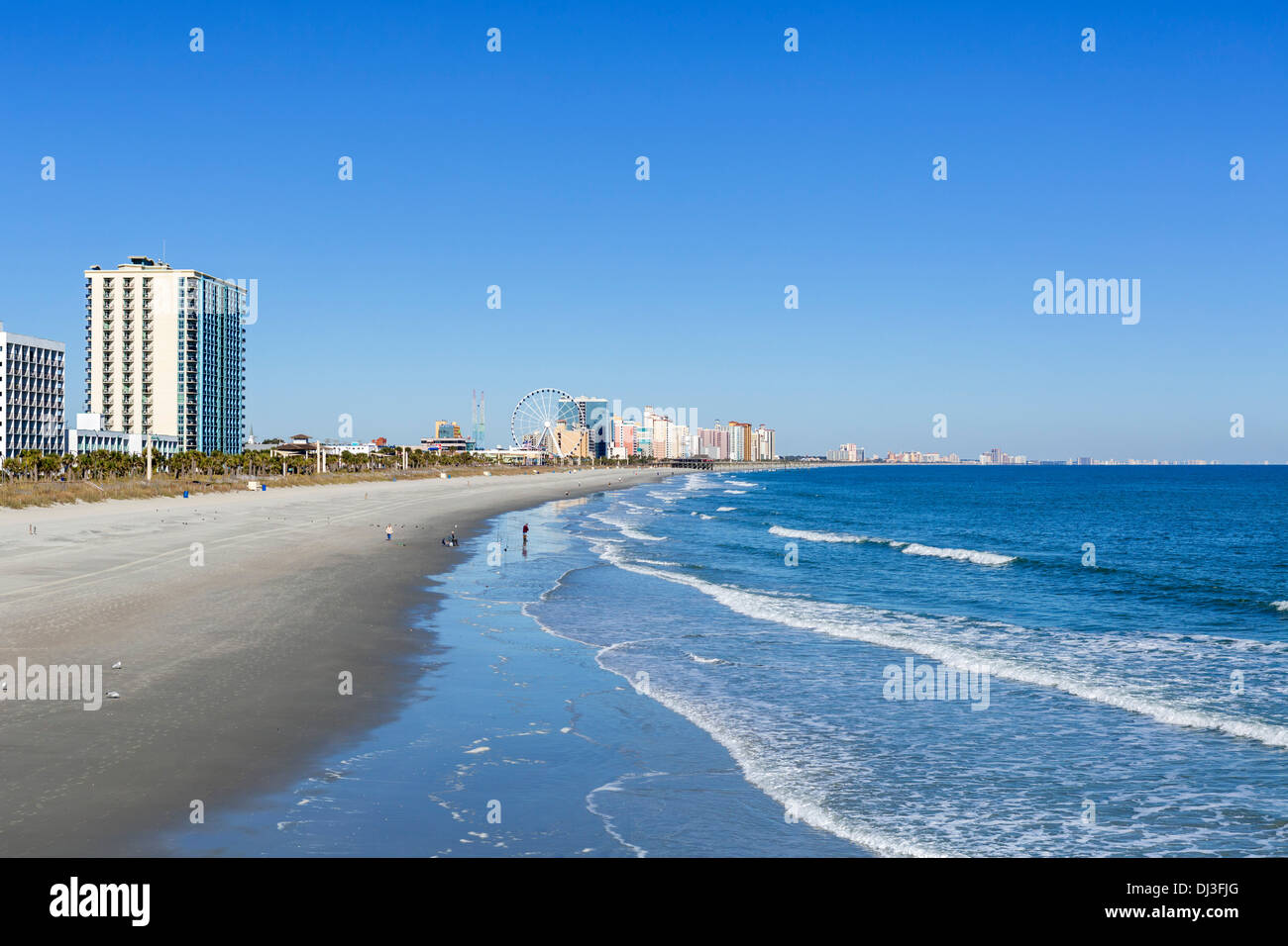 Myrtle Beach from 2nd Avenue Pier on a quiet out of season fall day, Myrtle Beach, South Carolina, USA - Stock Image