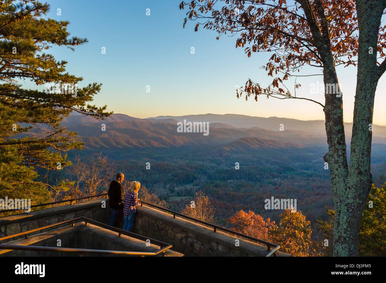 View over the Great Smoky Mountains National Park at sunset from Look Rock overlook, Foothills Parkway, Tennessee, USA - Stock Image