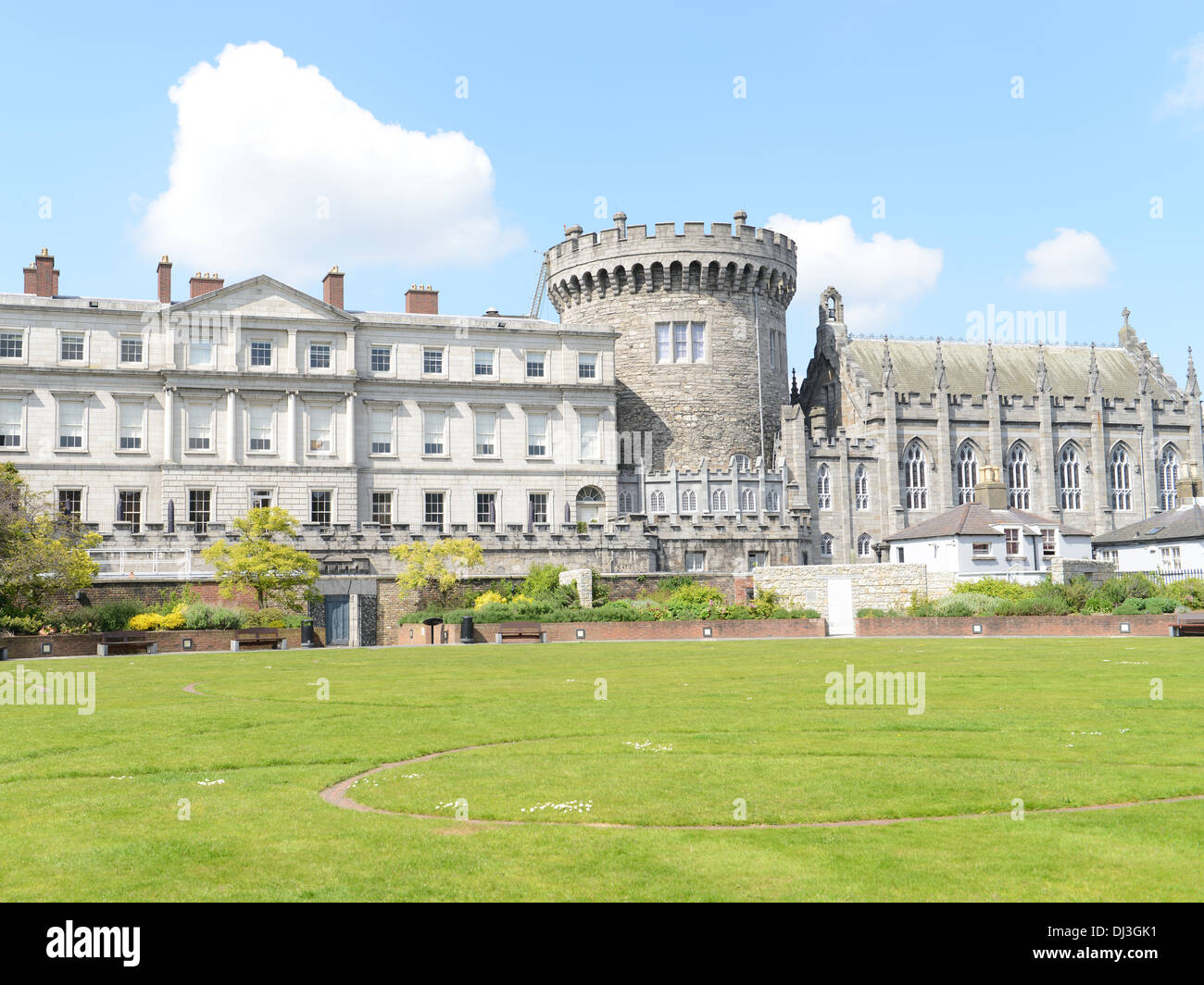 Dublin Castle with (big round) Record tower in Ireland. - Stock Image