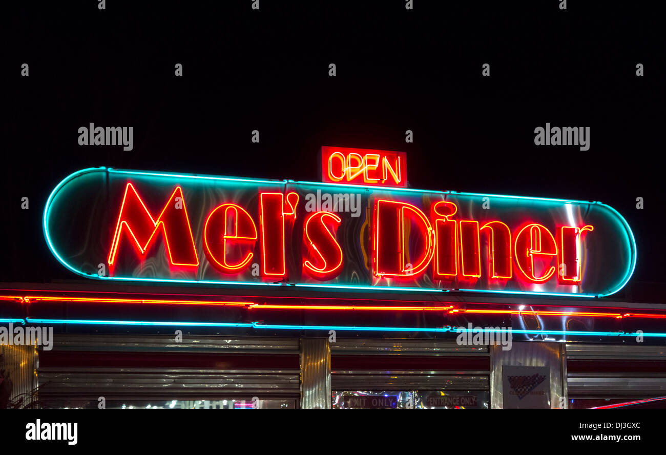 Mel's Diner at night, Pigeon Forge, Tennessee, USA - Stock Image