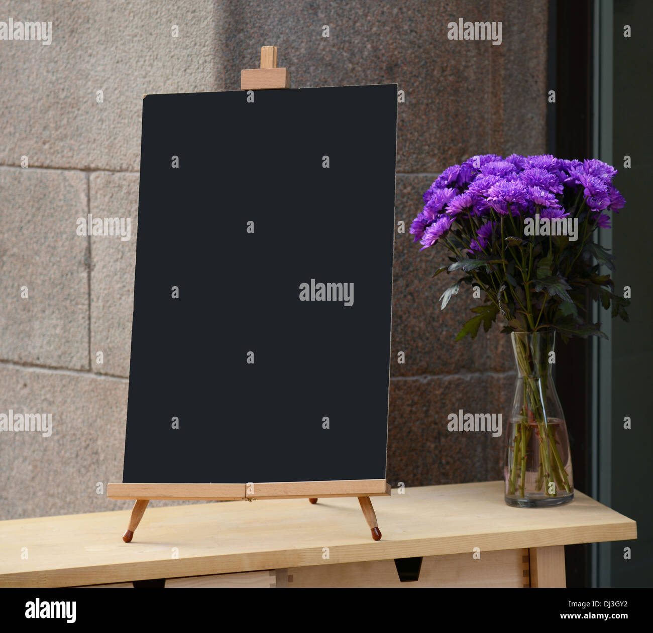 Wooden Board For Restaurant Menu With Empty Space To Add Text Stock - Standing table for restaurant