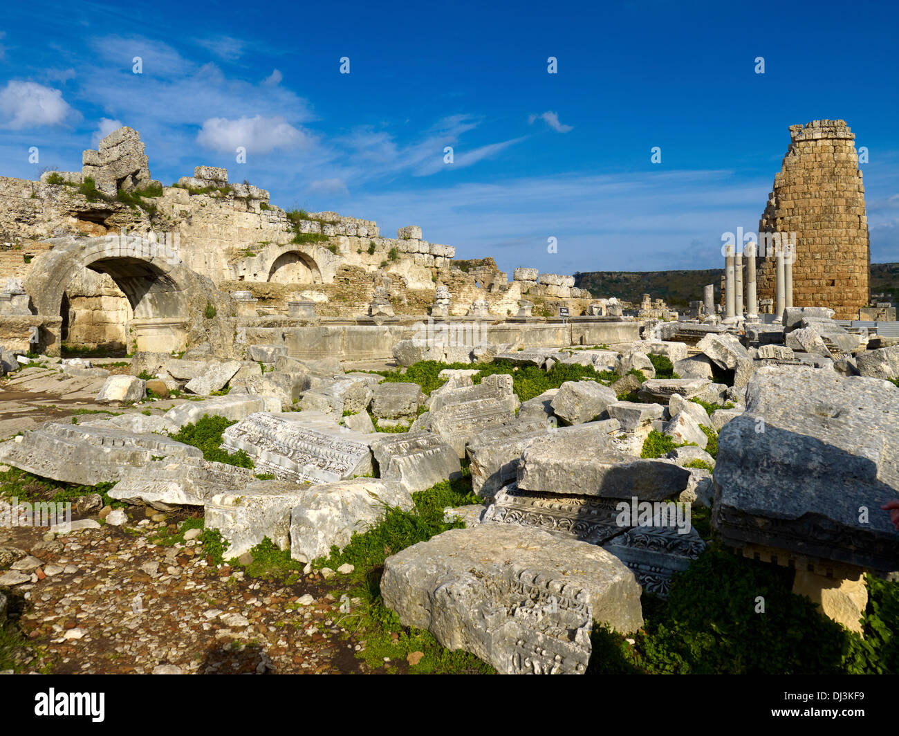 Nymphaeum and Hellenistic city gate, ancient city of Perga, Turkey - Stock Image