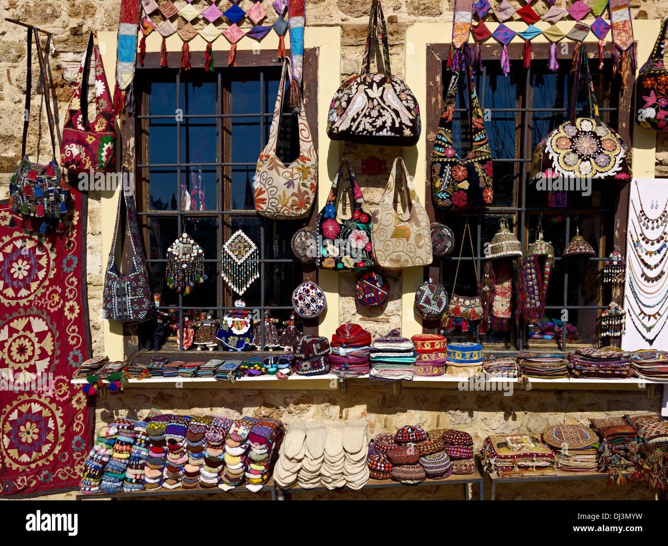 Shop with folk art, old town, Antalya, Turkey - Stock Image