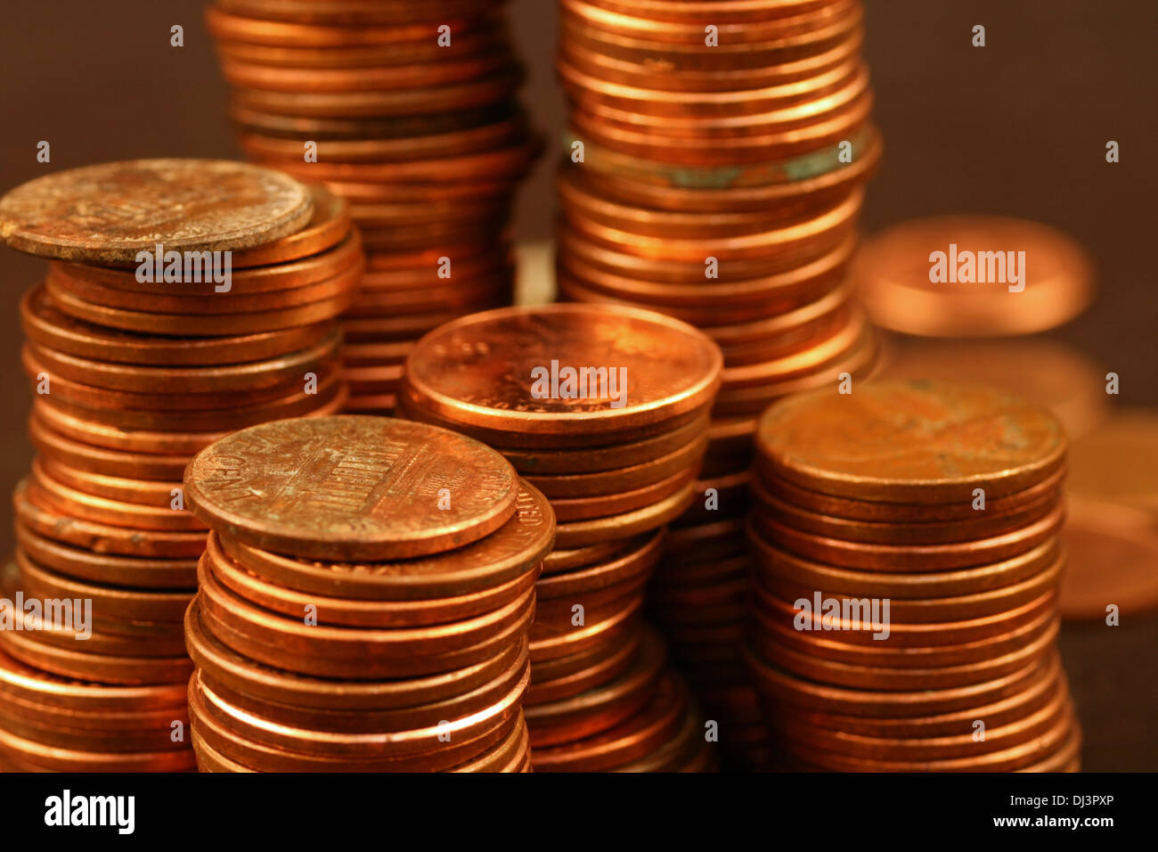 American pennies close up Stock Photo