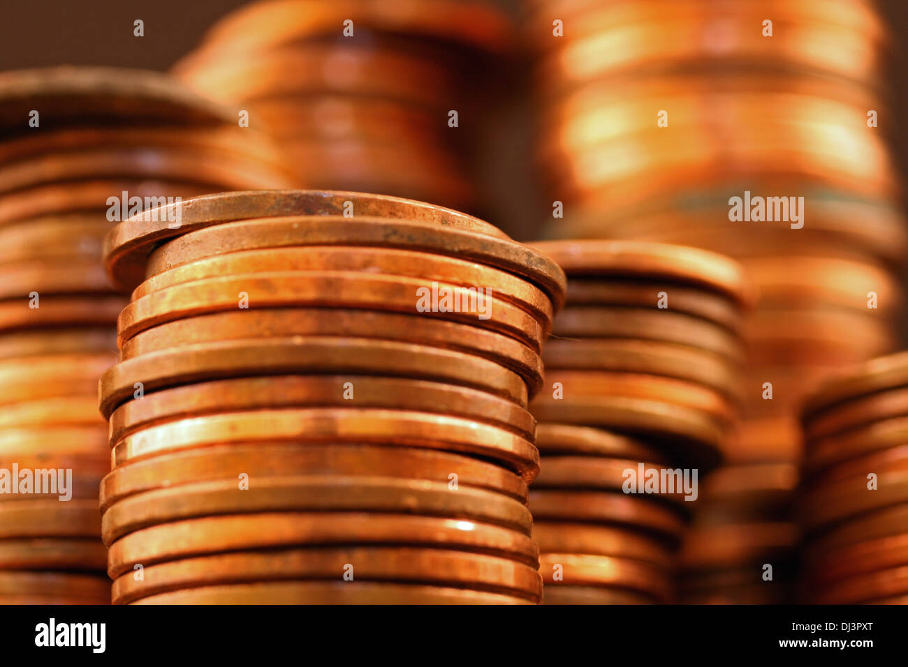 American pennies close up - Stock Image