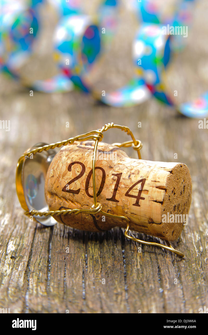 Champagne cork opened for new year's party 2014 - Stock Image