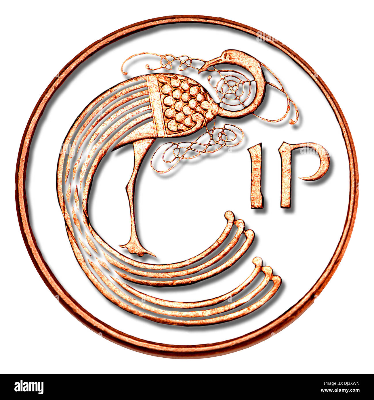Irish Penny - Celtic bird design - Stock Image