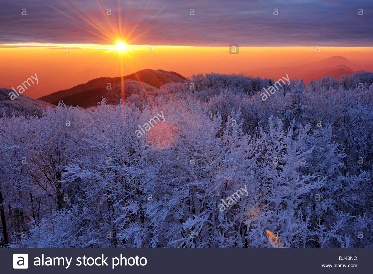 Winter sunset view from mountain Ivancica, Croatia - Stock Image