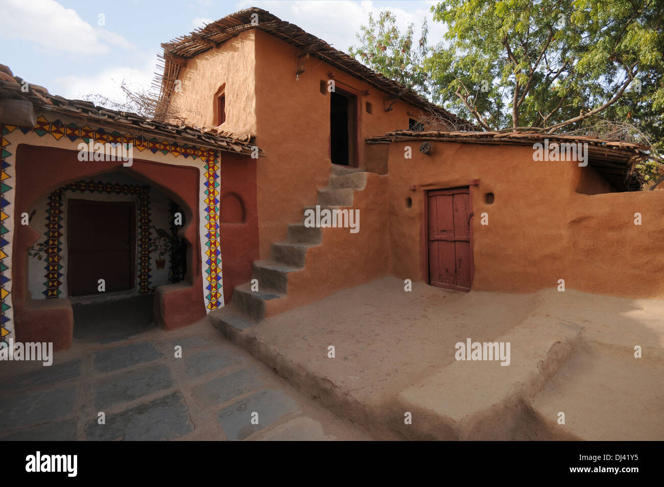 Tribal house shilpgram udaipur rajasthan india stock image