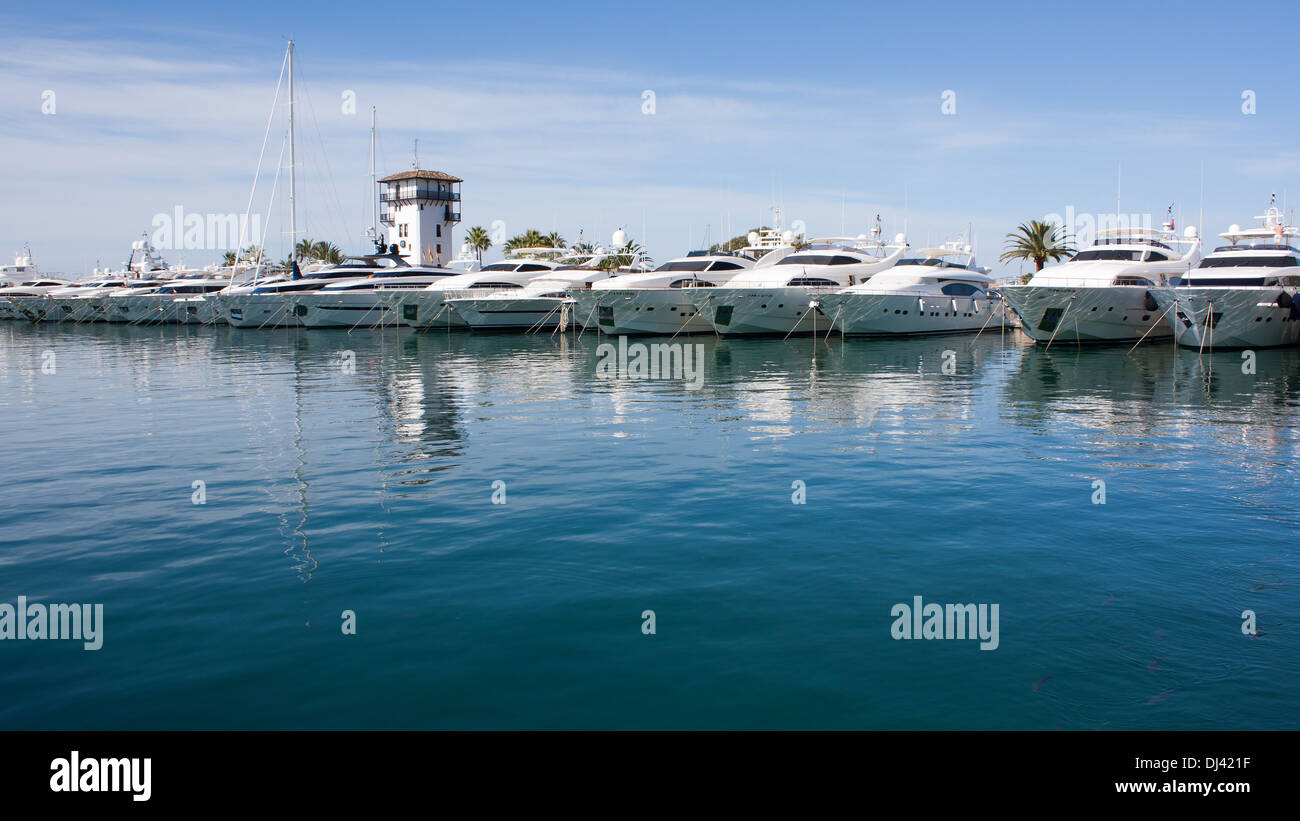 Yachts in the harbor of Puerto Portals - Stock Image