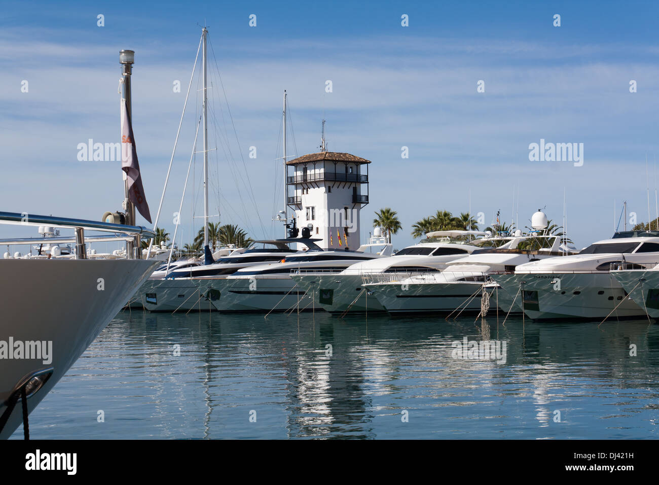 Overlooking the harbor of Puerto Portals - Stock Image
