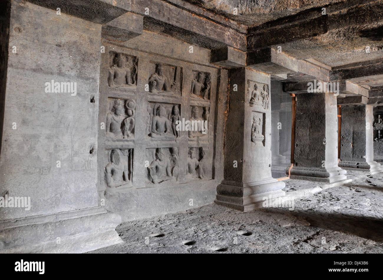 Cave 12 : Mandala with Buddha Ground Floor. Ellora Caves, Aurangabad, Maharashtra, India - Stock Image