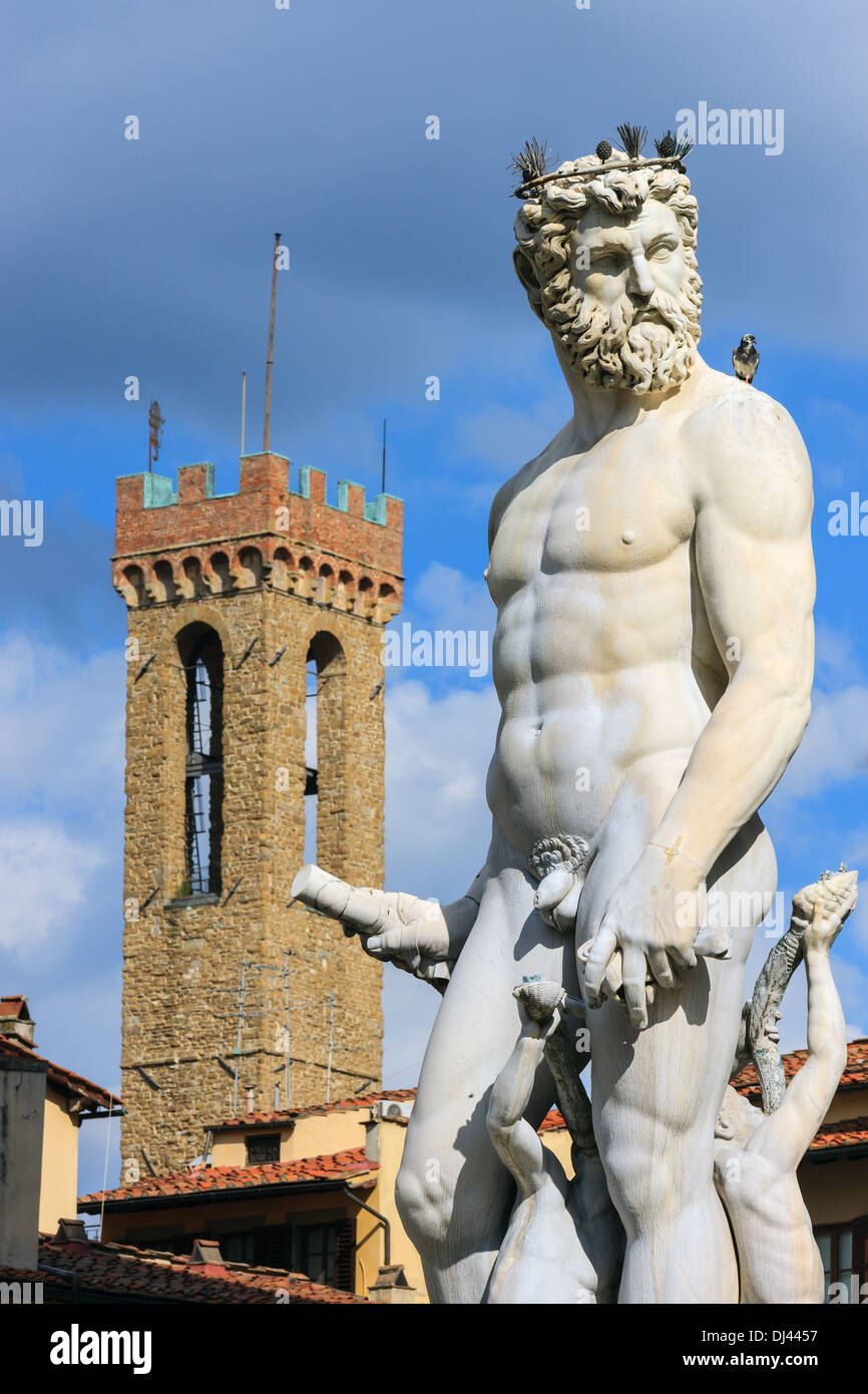 Statue of Neptune as part of the fountain on Piazza della Signoria in Florence, Italy. - Stock Image