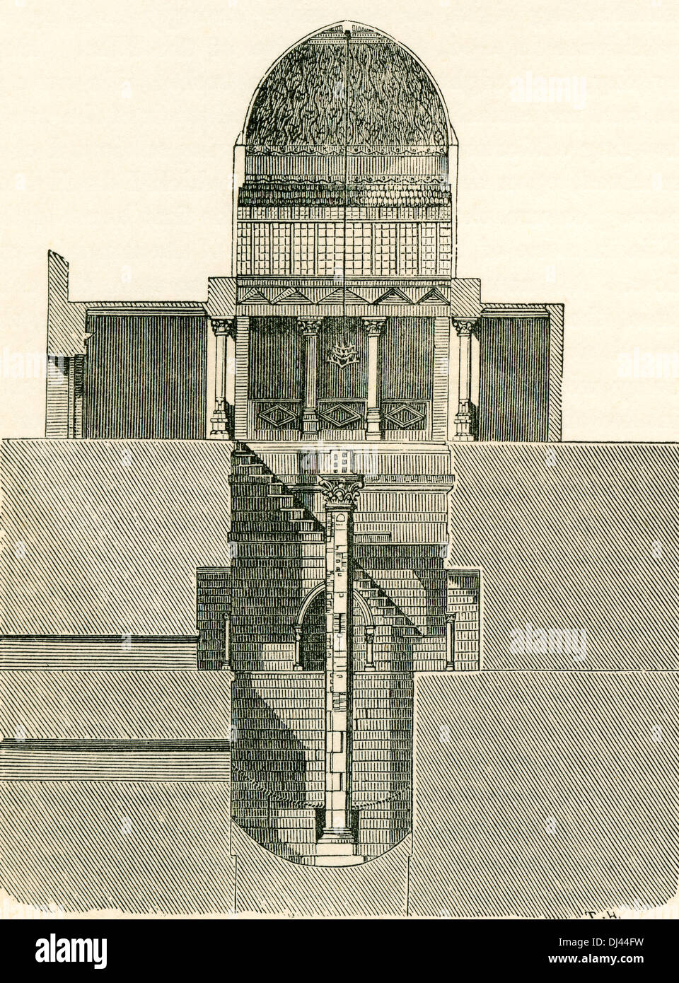 The Nilometer, Island of Rhoda, Egypt in the 19th century.  A Nilometer was a structure for measuring the Nile River's clarity and water level during the annual flood season. - Stock Image
