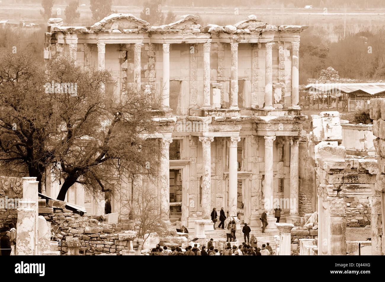 Ephesus Celsus Library sepia Stock Photo