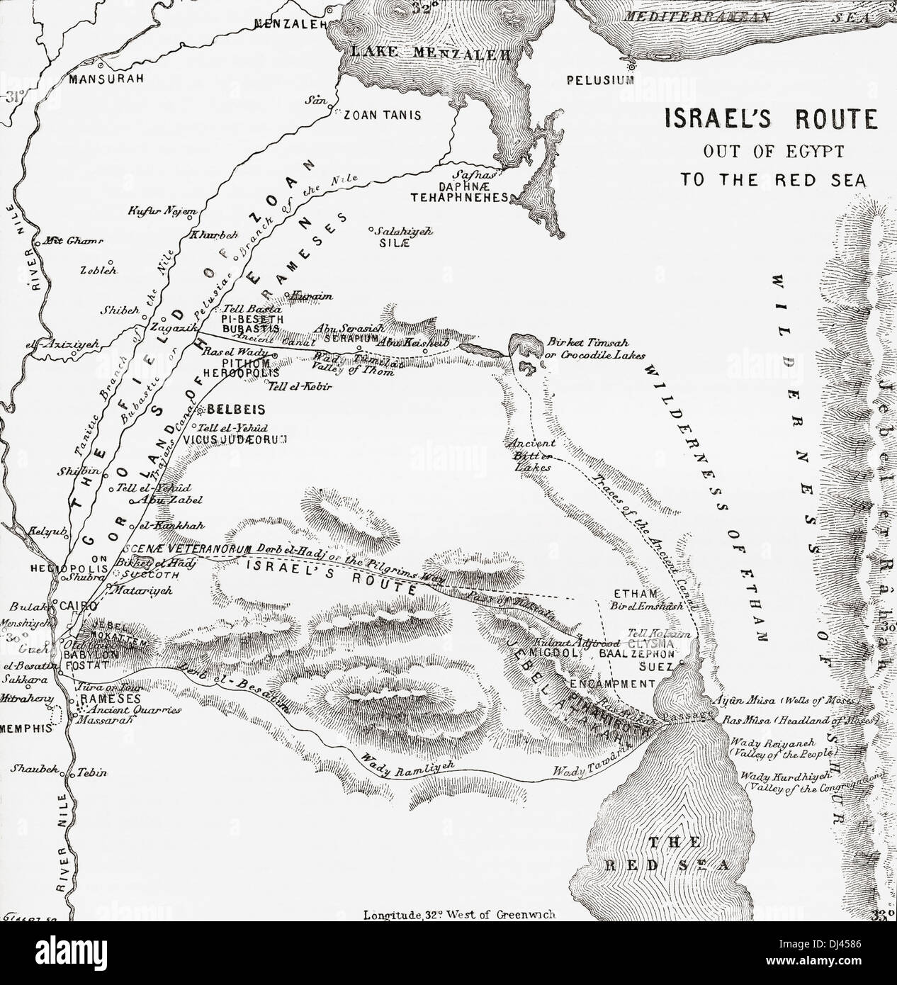 Map showing the Israelites route to the Red Sea during their exodus from Egypt. - Stock Image