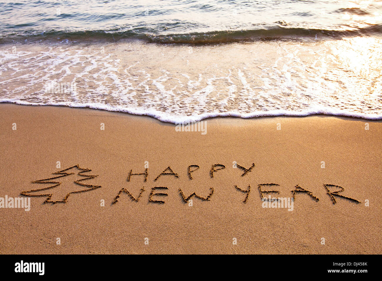 New Year background on the beach - Stock Image