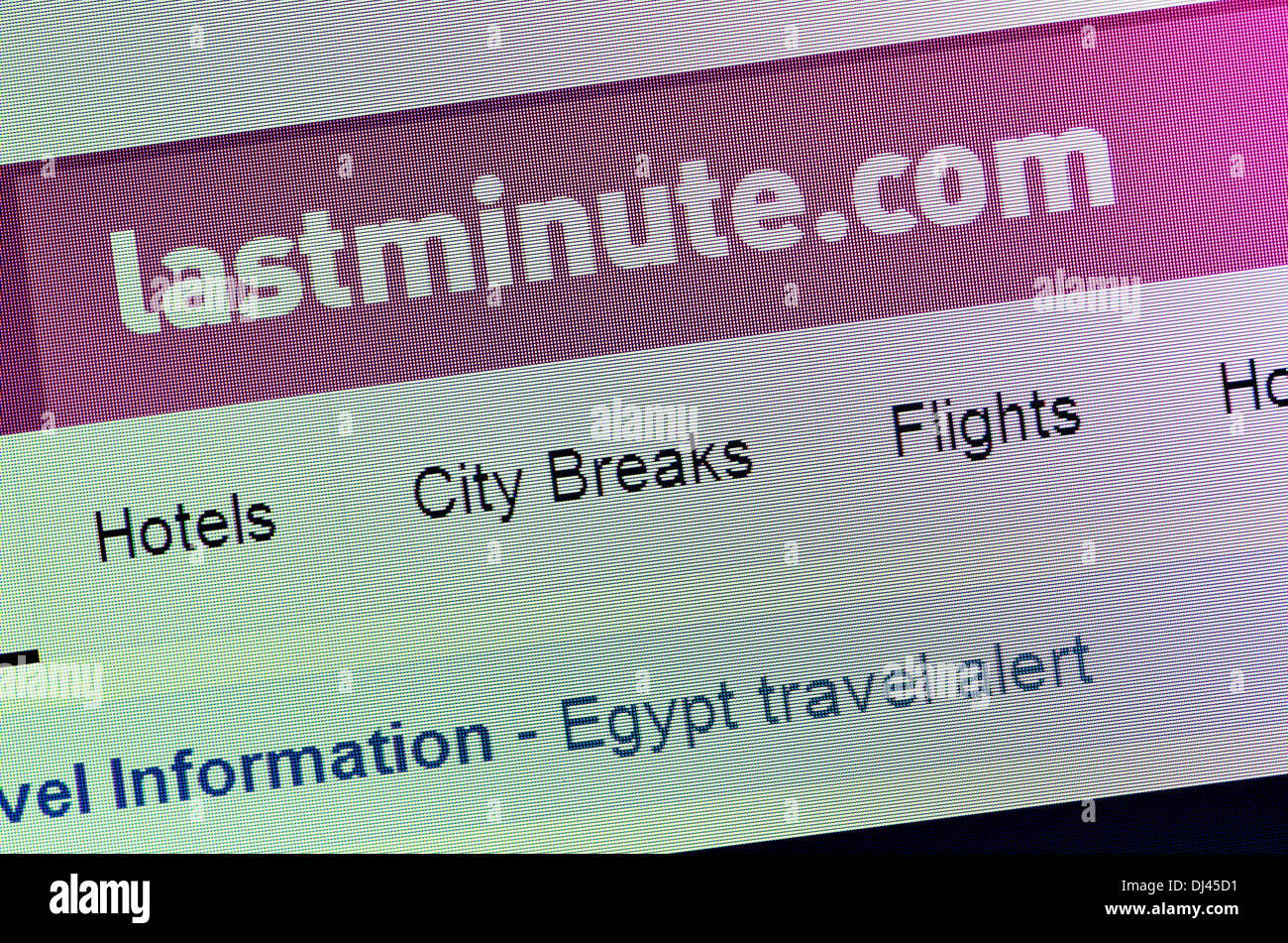Computer screenshot - lastminute.com Stock Photo