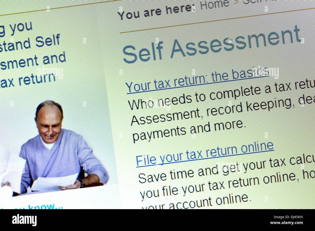 Computer screenshot - HMRC tax website - self assessment - Stock Image
