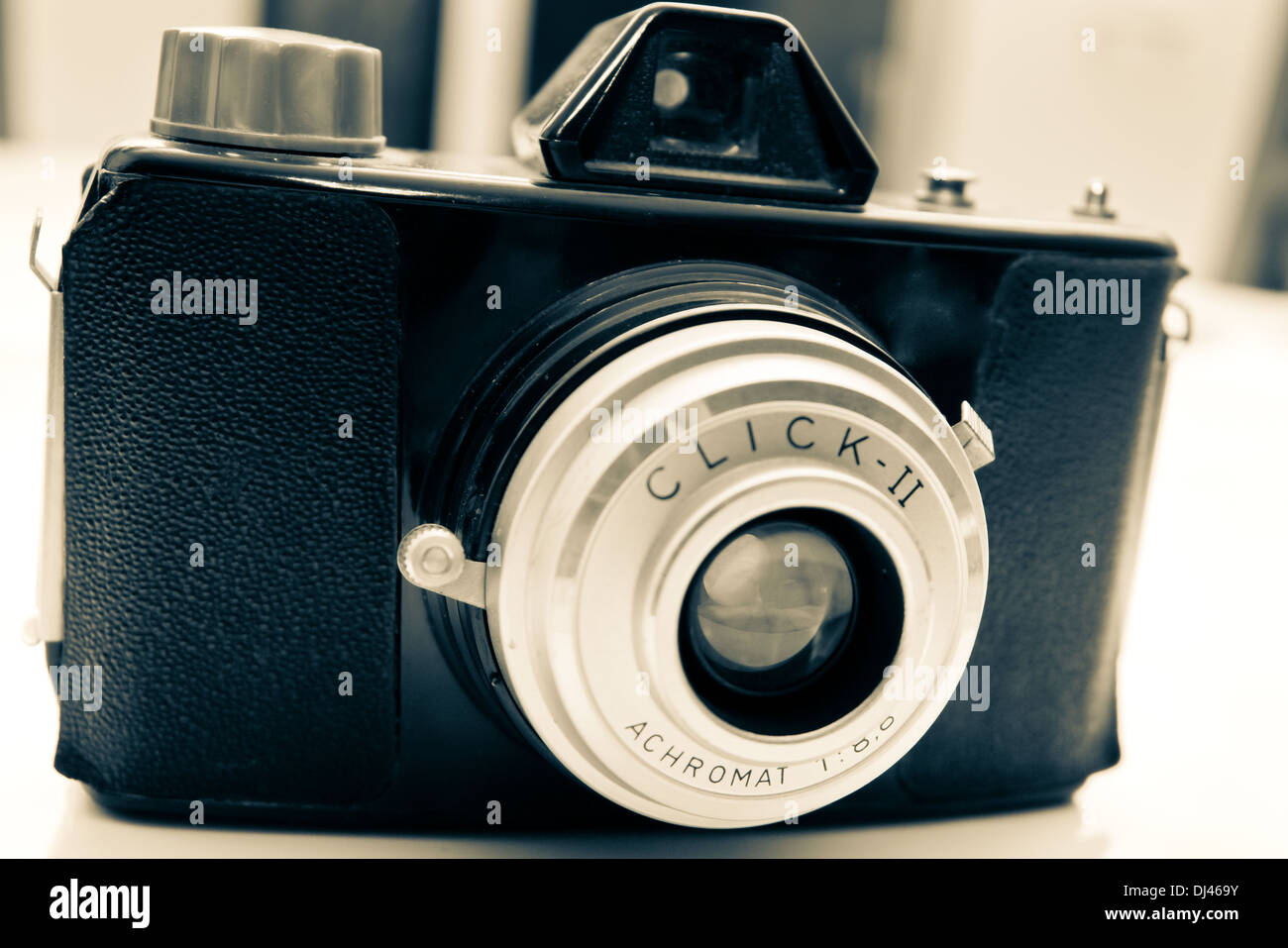 old camera in oblique view - Stock Image