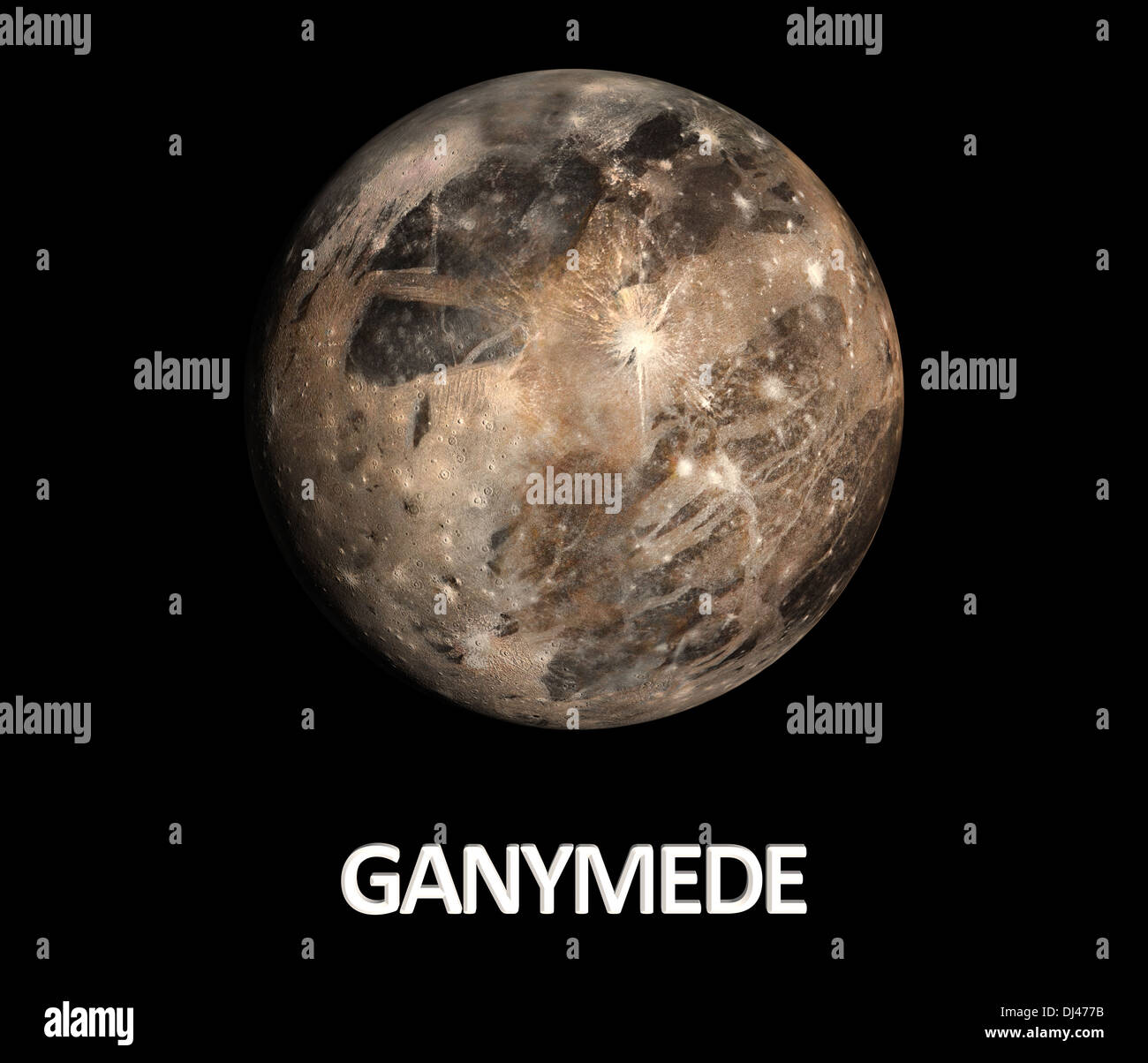 A rendered Image of the Jupitermoon Ganymede on a clean black background with english caption. - Stock Image