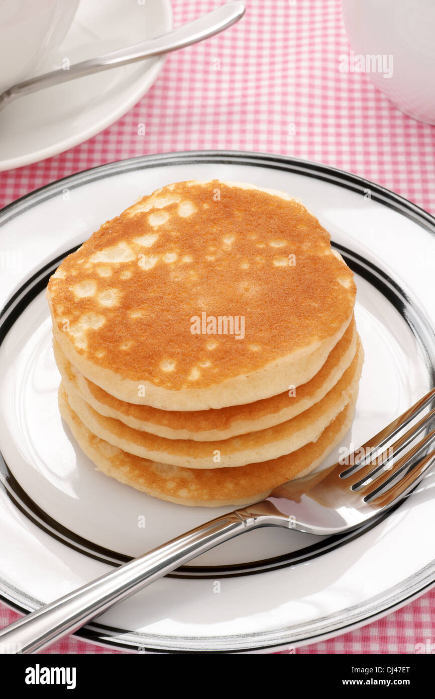 Stack Of Plain Buttermilk Pancakes No Butter Or Syrup Stock Photo Alamy