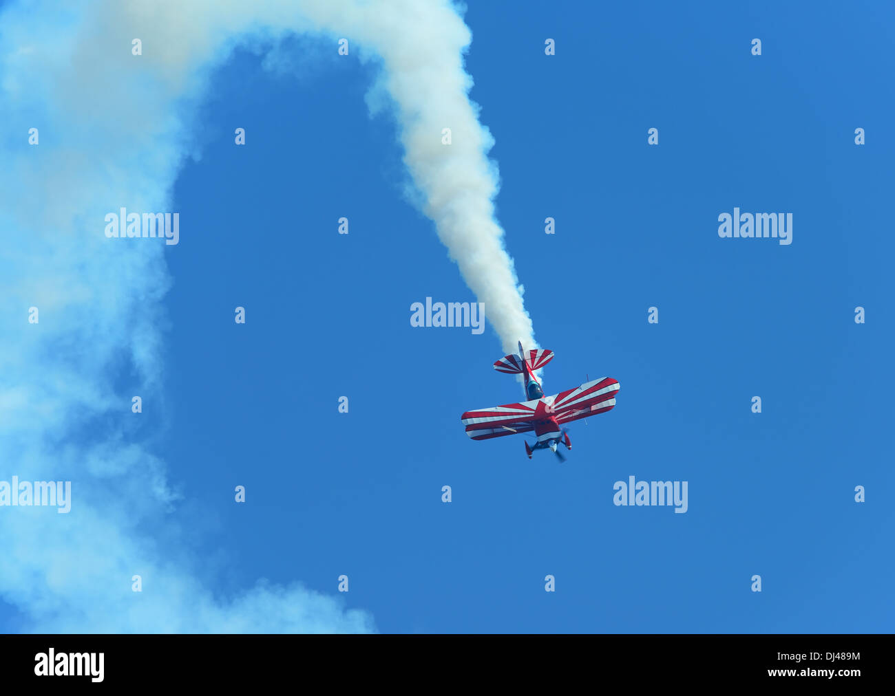 Pitts S2S aerobatic stunt biplane G-EWIZ, flown by Richard Goodwin.Clacton air show,Essex,UK, 2013 - Stock Image