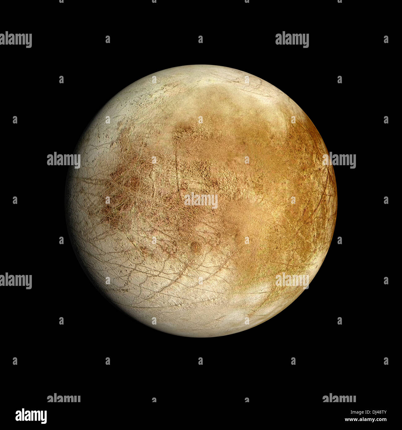 A rendered Image of the Jupiter Moon Europa on a clean black background. - Stock Image