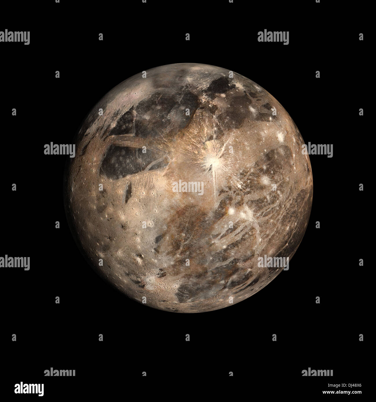 A rendered Image of the Jupitermoon Ganymede on a clean black background. - Stock Image