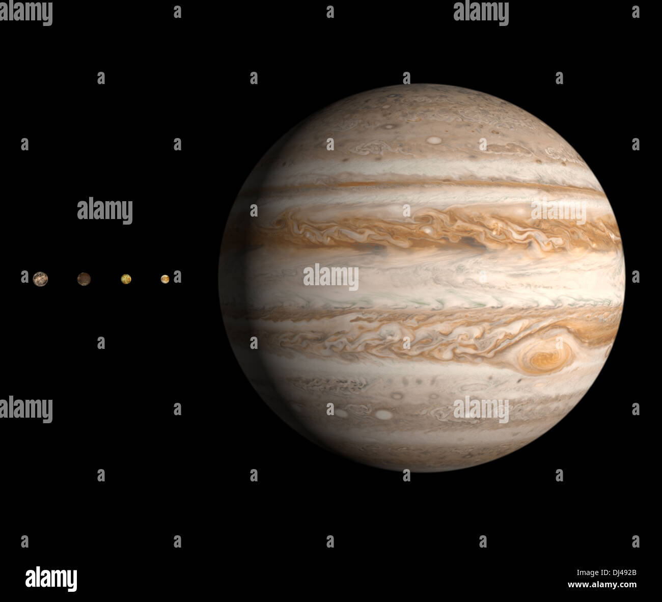 A rendered size comparison of the planet Jupiter and it's four largest moons Ganymede, Callisto, Europa and Io. - Stock Image