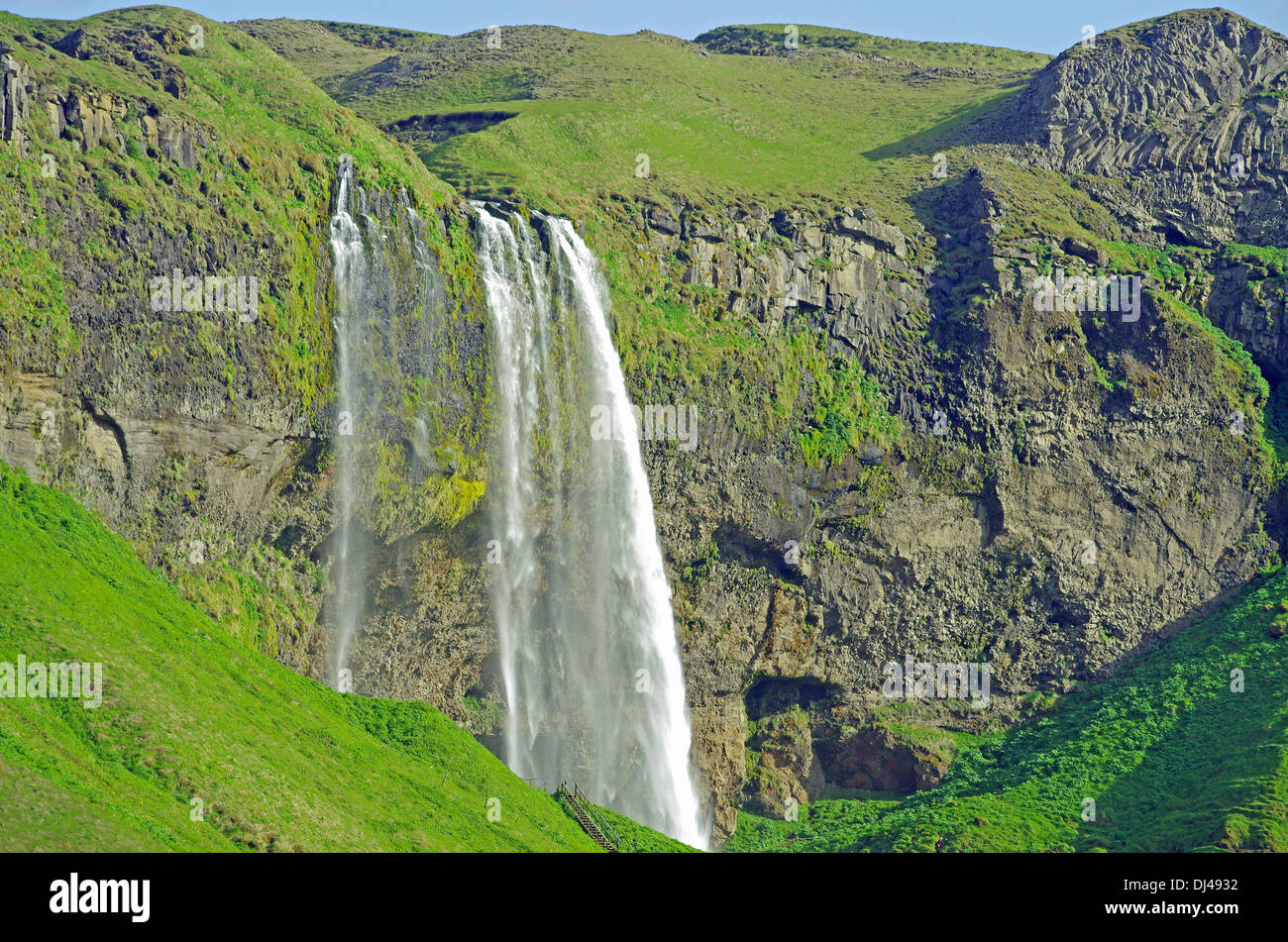green landscape near seljelandsfoss Stock Photo