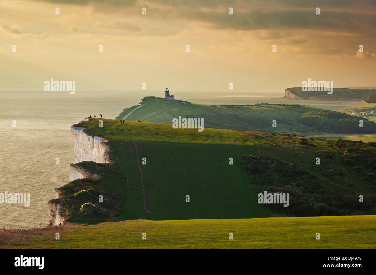 Sunset on the South Downs Way at beachy head South Downs National Park, East Sussex, England, UK, GB, EU, Europe - Stock Image