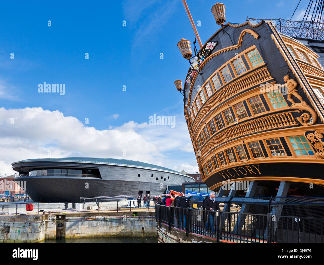 The Mary Rose Museum and HMS Victory in the Portsmouth Historic Dockyard Portsmouth Hampshire England UK GB EU Europe - Stock Image
