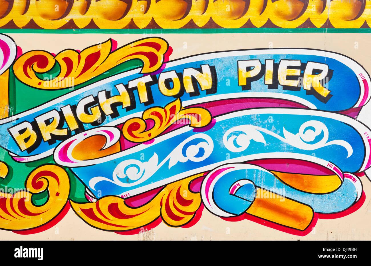 Brighton pier painted sign brighton palace pier brighton west sussex england uk gb eu europe - Stock Image