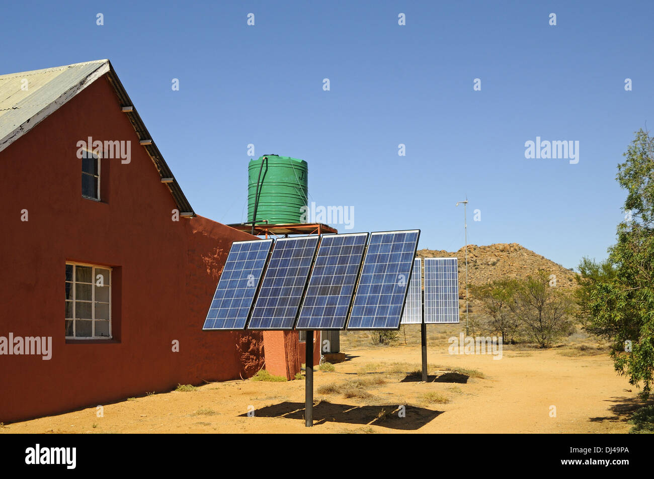 Solar panels at a farm house, South Africa - Stock Image