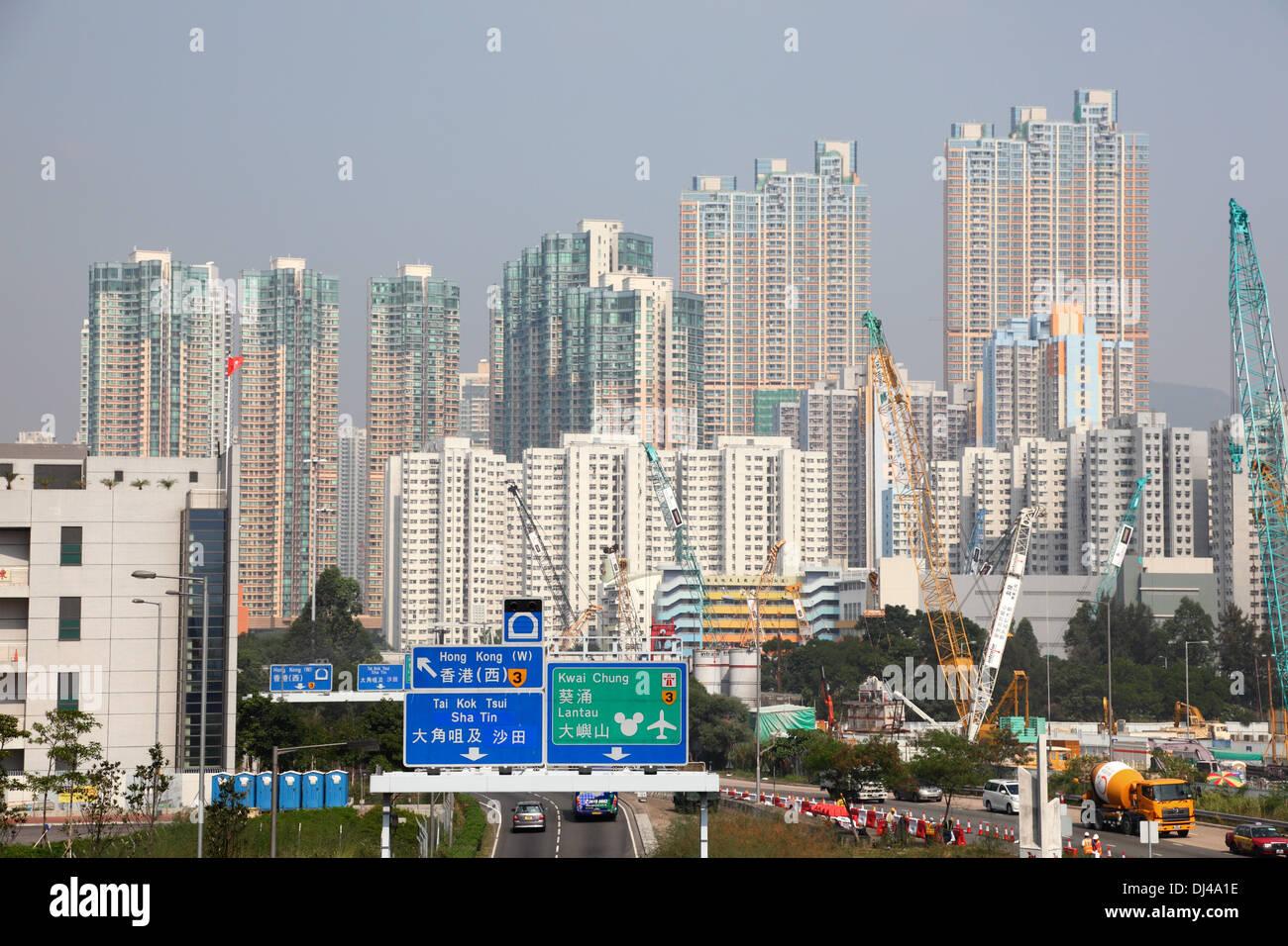 Highrise buildings in Hong Kong Sha Tin - Stock Image