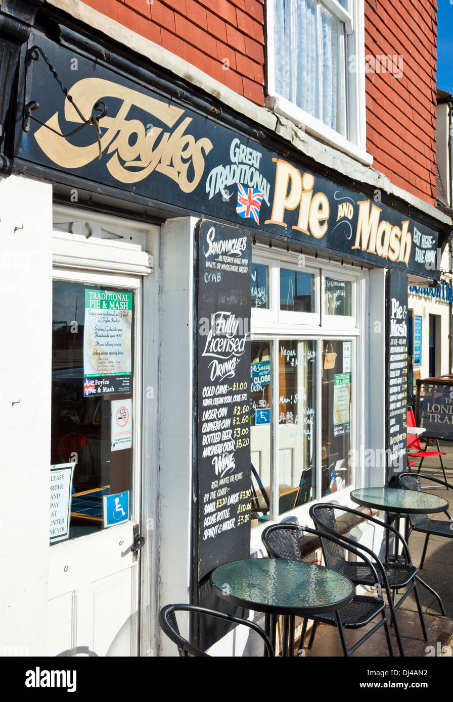 Foyles Pie and Mash shop cafe on Hastings seafront East Sussex England UK GB EU Europe - Stock Image