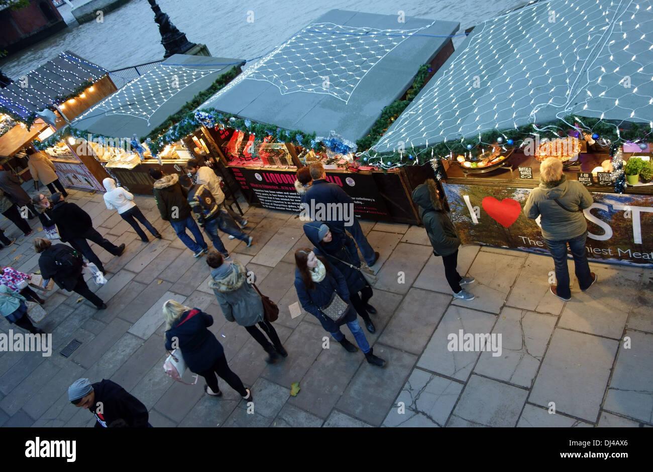 Christmas market on the South Bank, London - Stock Image