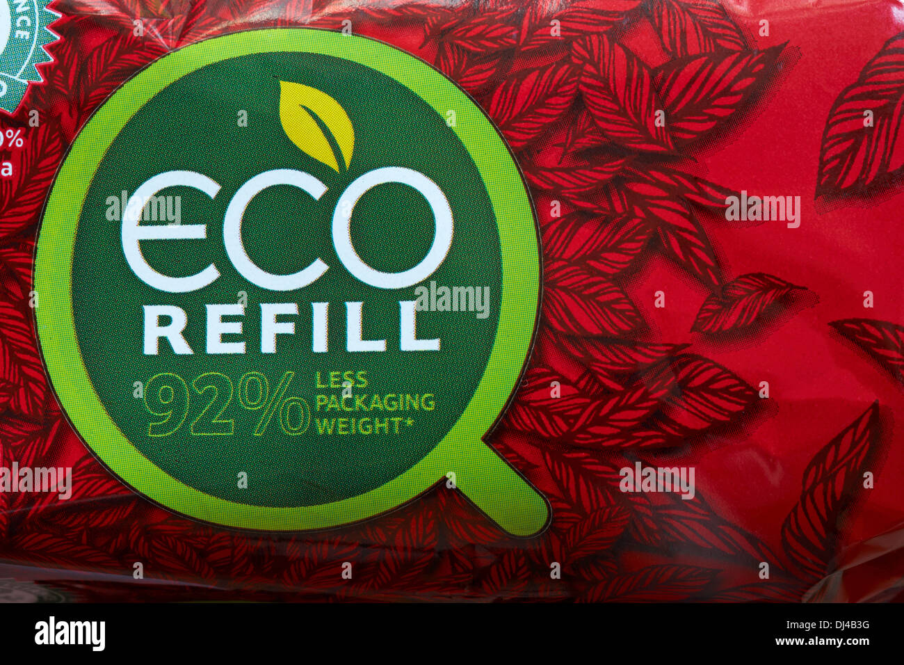 Eco refill 92% less packaging weight - information on packet of tea bags - Stock Image