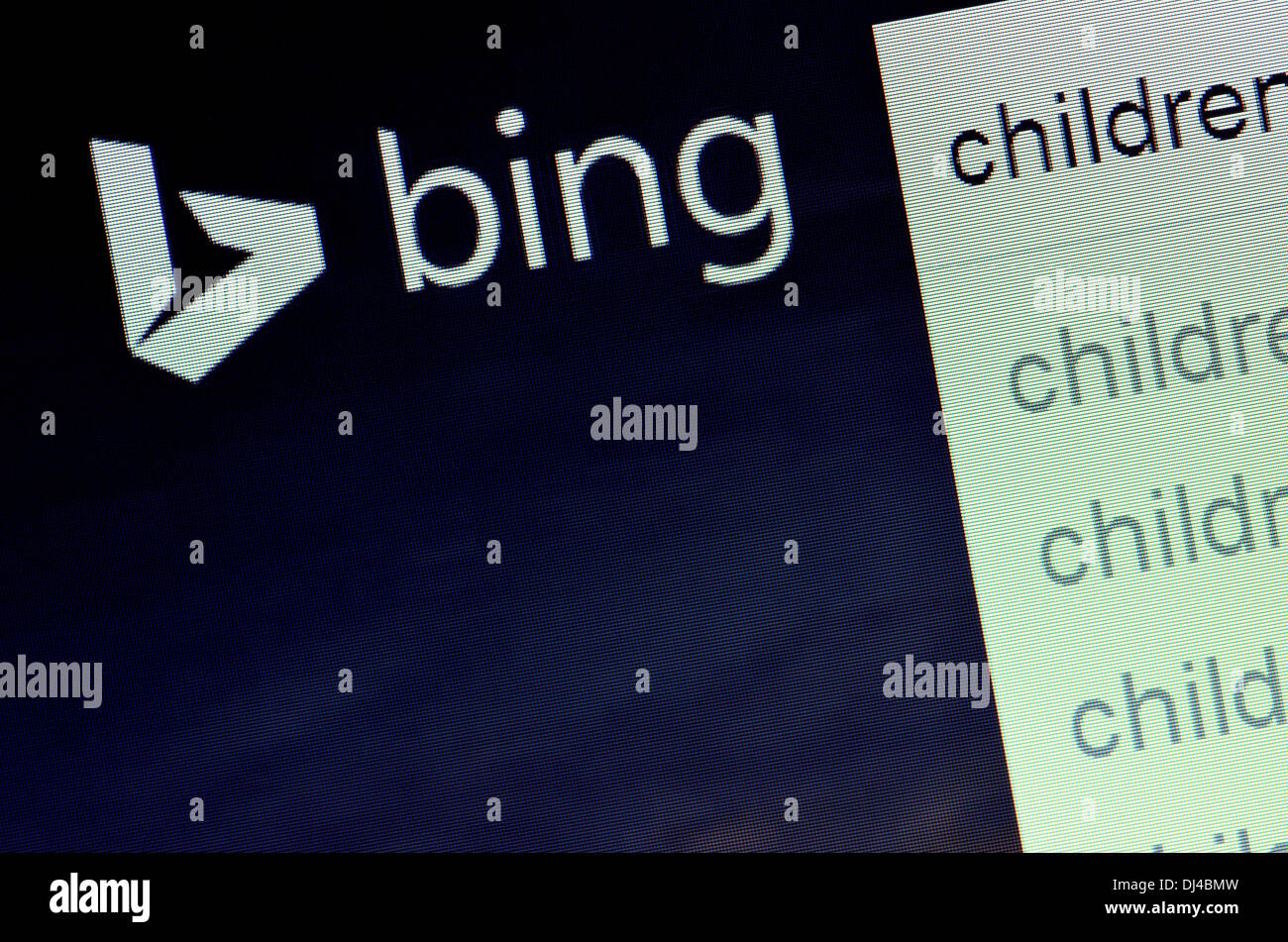 Computer screenshot - Bing search engine - search for 'children' - Stock Image